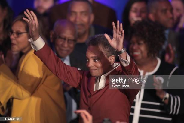 Lori Lightfoot celebrates after defeating Cook County Board President Toni Preckwinkle to become the next mayor of Chicago on April 02 2019 in...