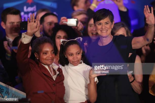 Lori Lightfoot celebrates with her wife Amy and daughter Vivian after defeating Cook County Board President Toni Preckwinkle to become the next mayor...