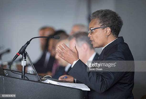 Lori Lightfoot chair of the Chicago Police Board addresses community leaders and members of the news media about the findings of the Police...