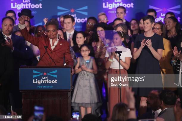 Lori Lightfoot delivers a victory speech after defeating Cook County Board President Toni Preckwinkle to become the next mayor of Chicago on April 02...