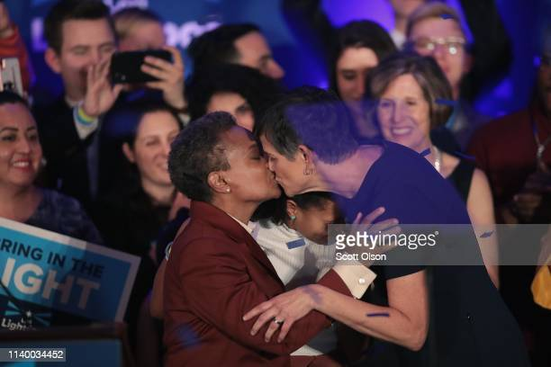 Lori Lightfoot kisses her wife Amy following her victory speech after defeating Cook County Board President Toni Preckwinkle to become the next mayor...