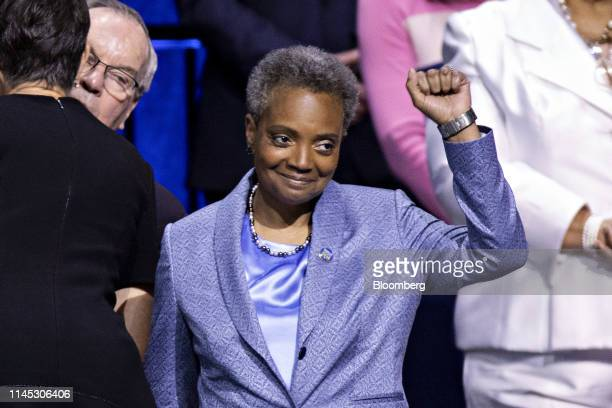 Lori Lightfoot mayor of Chicago gestures during an inauguration ceremony in Chicago Illinois US on Monday May 20 2019 Chicago makes history Monday...