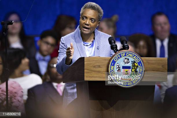 Lori Lightfoot mayor of Chicago speaks after being sworn in during an inauguration ceremony in Chicago Illinois US on Monday May 20 2019...
