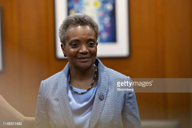Lori Lightfoot mayor of Chicago stands in her office during a public open house at City Hall in Chicago Illinois US on Monday May 20 2019 Chicago...