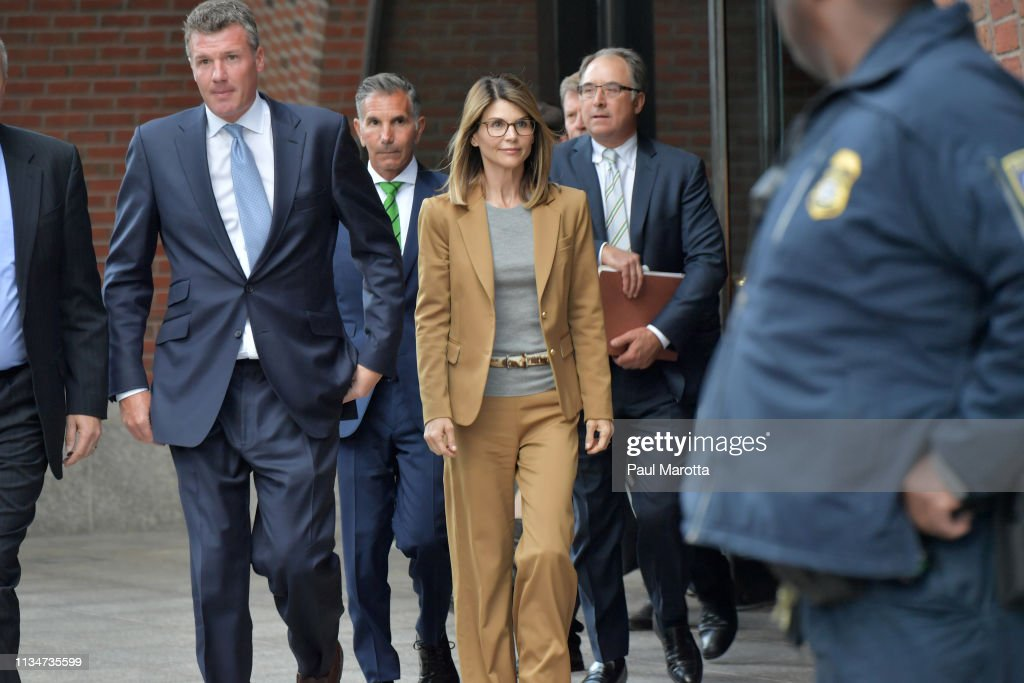 Felicity Huffman And Lori Loughlin Appear In Federal Court To Answer Charges Stemming From College Admissions Scandal : News Photo