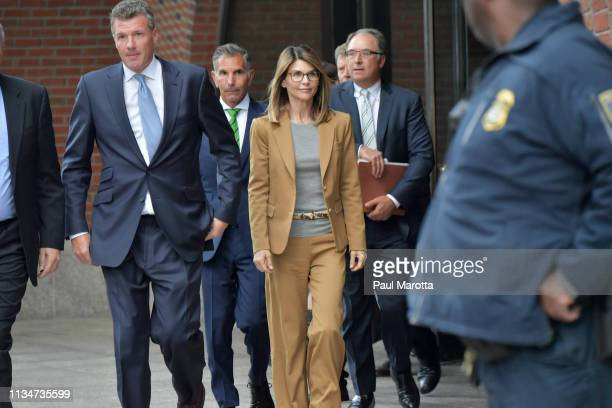 Lori Loughlin exits the John Joseph Moakley US Courthouse after appearing in Federal Court to answer charges stemming from college admissions scandal...