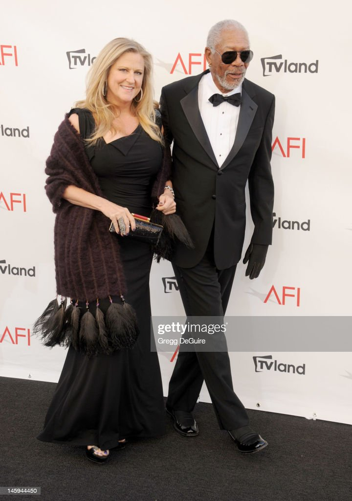 Lori McCreary and actor Morgan Freeman arrive at the 40th AFI Life Achievement Award honoring Shirley MacLaine at Sony Studios on June 7, 2012 in Los Angeles, California.