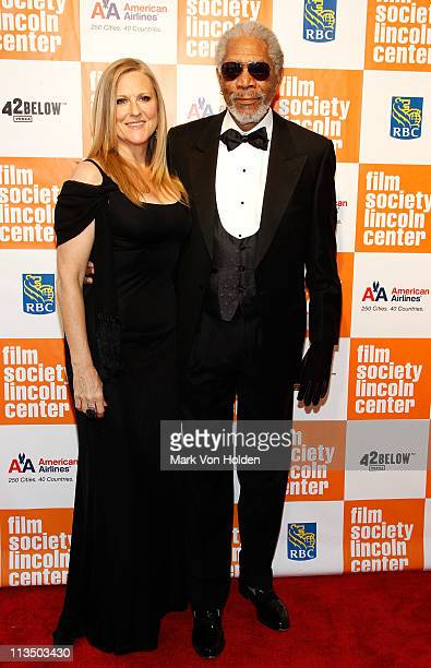 Lori McCreary and actor Morgan Freeman attend The Film Society of Lincoln Center's presentation of the 38th Annual Chaplin Award at Alice Tully Hall...