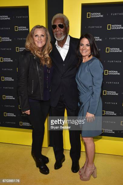 Lori McCreary Morgan Freeman and Courteney Monroe at National Geographic's Further Front Event at Jazz at Lincoln Center on April 19 2017 in New York...