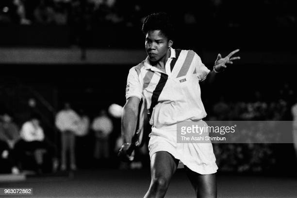 Lori McNeil of the United States plays a backhand in her Singles semi final match against Zina Garrison of the United States at Aoyama Gakuin...