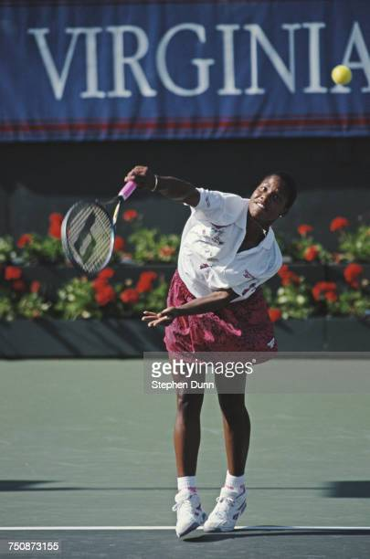 Lori McNeil of the United States serves during the Women's Singles semi final match at the Virginia Slims of Los Angeles Tennis tournament on 8...