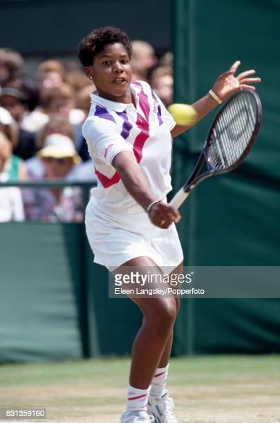 Lori McNeil of the USA in action during a women's singles match at the Wimbledon Lawn Tennis Championships in London circa June 1989 McNeil was...