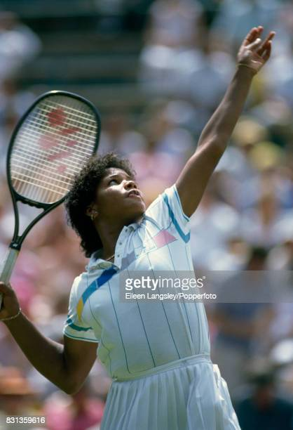 Lori McNeil of the USA in action during a women's singles match at the Wimbledon Lawn Tennis Championships in London circa July 1986 McNeil was...