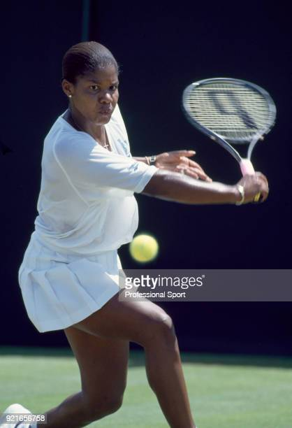 Lori McNeil of the USA in action during the Wimbledon Lawn Tennis Championships at the All England Lawn Tennis and Croquet Club circa June 1994 in...