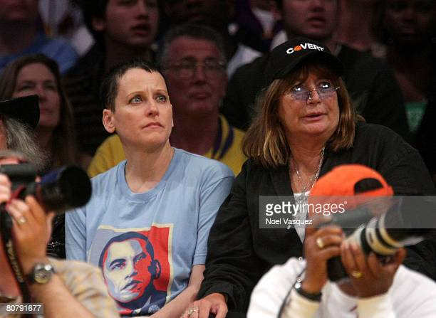 Lori Petty and Penny Marshall attend the Los Angeles Lakers vs the Denver Nuggets game at the Staples Center on April 20 2008 in Los Angeles...