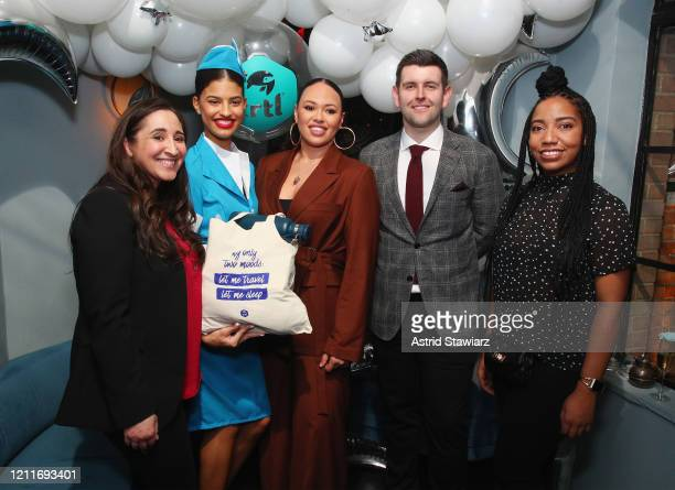 Lori Riviere Elle Varner CEO at Trtl Michael Corrigan and Nicole Doswell attend TRTL Sleep Mask Launch Party at Ophelia Lounge on March 10 2020 in...