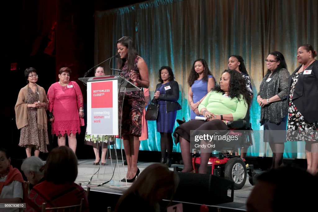 Lori Stokes and Rose Ranger speak on stage at the Bottomless Closet's 19th Annual Spring Luncheon on May 16, 2018 in New York City.