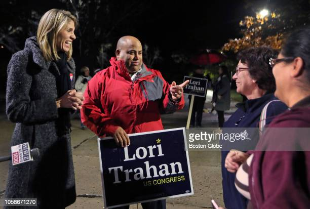 Lori Trahan the Democratic candidate for the open Massachusetts Third Congressional District seat left talks to voters as she makes a campaign stop...