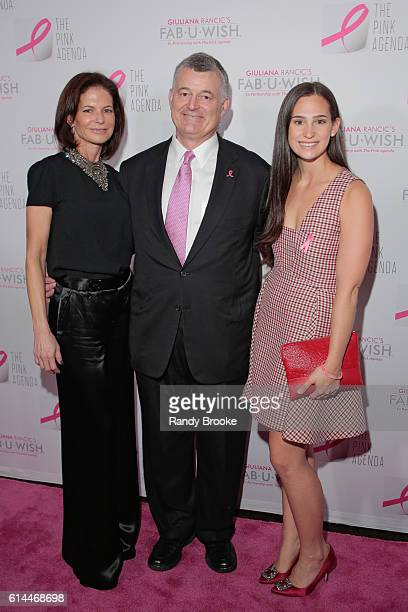 Lori Tritsch William Lauder and Alex Tritsch pose on the pink carpet during The Pink Agenda 2016 Gala arrivals at Three Sixty on October 13 2016 in...