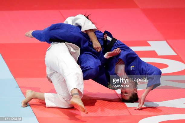 Loriana Kuka of Kosovo and Klara Apotekar of Slovenia compete in the Women's -78kg bronze medal bout on day six of the World Judo Championships at...