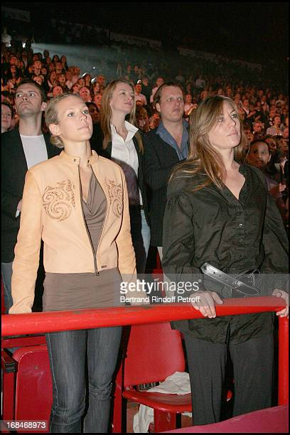 Lorie and Mathilde Seigner Delphine Vallarino Gancia and husband Alessandro at The Celine Dion Concert At Bercy