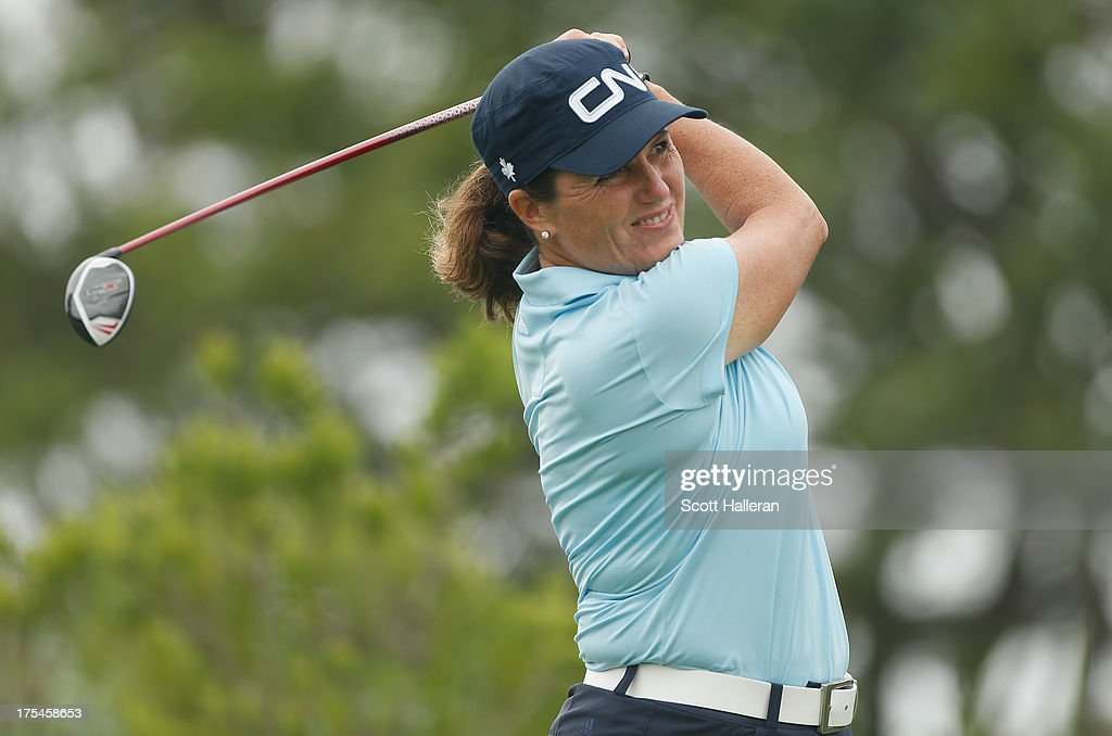 Lorie Kane hits a shot during the first round of the 2013 U.S. Women's Open at Sebonack Golf Club on June 27, 2013 in Southampton, New York.