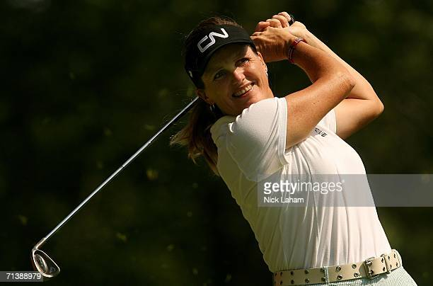 Lorie Kane of Canada hits her tee shot on the third hole during the second round of the HSBC Women's World Match Play Championship on July 7 2006 at...