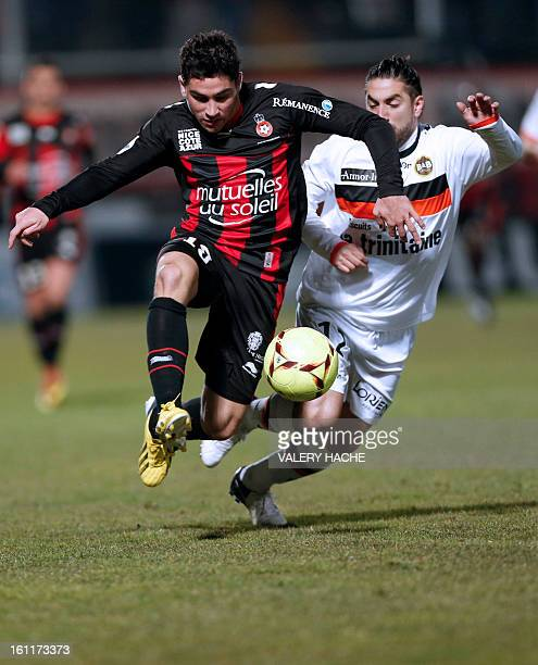 Lorient's Argentinian defender Lucas Mareque vies with Nice's French forward Neal Maupay during a French L1 football match between Nice and Lorient...