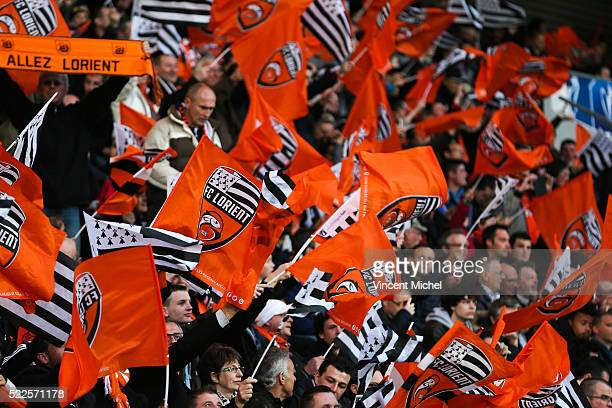 Lorient's fans during the semifinal French Cup between Lorient and Paris SaintGermain at Stade du Moustoir on April 19 2016 in Lorient France