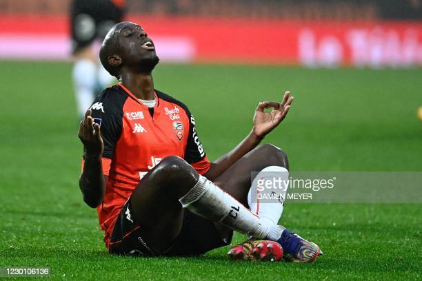 Lorients French forward Yoane Wissa celebrates after scoring a goal during the French L1 football match between FC Lorient and Nimes Olympique, at...