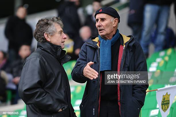 Lorient's French head coach Christian Gourcuff talks with former Nantes' coach JeanClaude Suaudeau before the French L1 football match between Nantes...