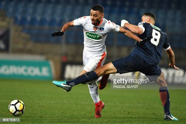 Lorient's French midfielder Alexis Claude Maurice vies with Montpellier's French midfielder Ellyes Skhiri during the French Cup round of 16 football...