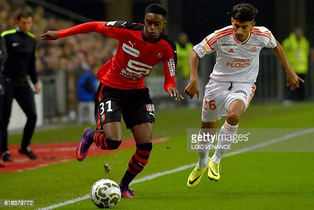 Lorient's French midfielder Issam Ben Khemis vies with Rennes' forward Adama Diakhaby during the French League Cup football match between Rennes and...
