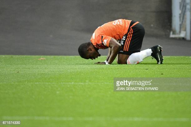 Lorient's Ghanaian forward Abdul Waris celebrates after scoring during the French L1 football match between Lorient and Metz on April 22 2017 at the...