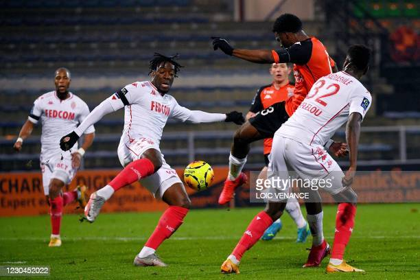 Lorient's Nigerian forward Terem Moffi shoots and scores a goal during the French L1 football match between FC Lorient and AS Monaco at the Stade...