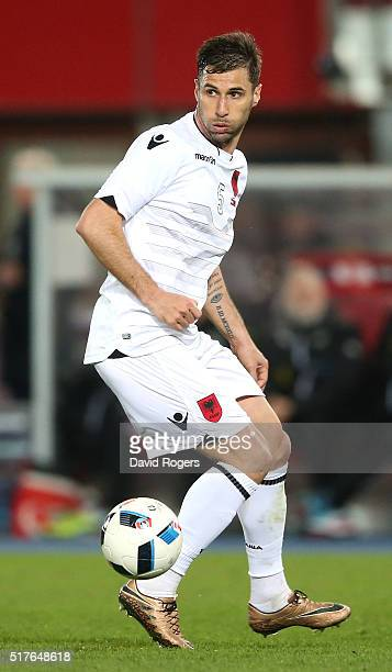 Lorik Cana of Albania controls the ball during the international friendly match between Austria and Albania at the ErnstHappelStadion on March 26...