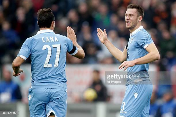 Lorik Cana of SS Lazio Stefan de Vrij of SS Lazio during the Serie A match between AS Roma and Lazio Roma on January 112014 at the Stadio Olimpico in...