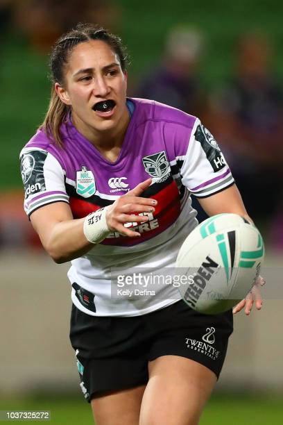 Lorina Papali'i of the Warriors passes the ball during the round three NRLW match between the Brisbane Broncos and the New Zealand Warriors at AAMI...
