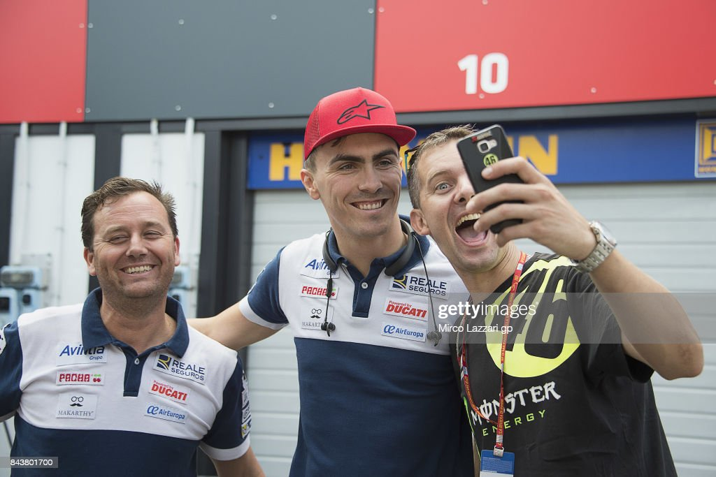 Loris Baz of France and Avintia Racing poses for fans in paddock during the MotoGP of San Marino - Previews at Misano World Circuit on September 7, 2017 in Misano Adriatico, Italy.
