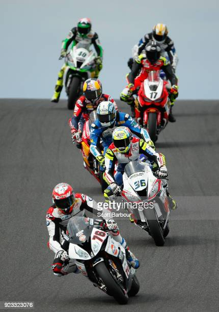 Loris Baz of France and GULF ALTHEA BMW Racing Team rides in the FIM Superbike World Championship Free Practice session ahead of the 2018 Superbikes...