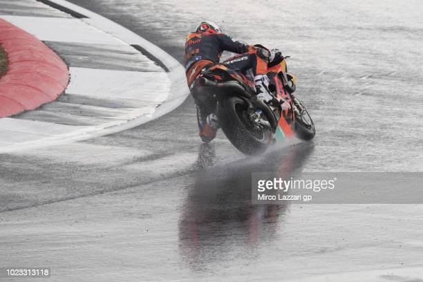 Loris Baz of France and Red Bull KTM Factory Racing rounds the bend during the qualfying practice during the MotoGp Of Great Britain Qualifying at...