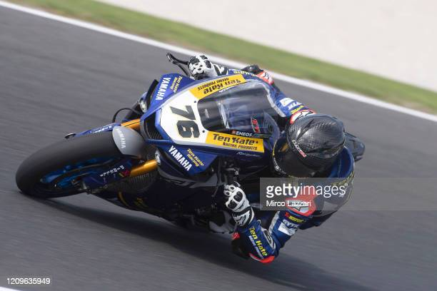 Loris Baz of France and Ten Kate Racing Yamaha rounds the bend during the Superbike race 02 during the 2020 Superbike World Championship at Phillip...