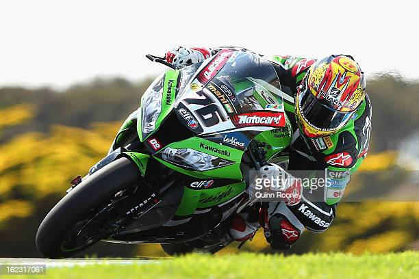 Loris Baz of France riding the Kawasaki RacingTeam during free practice ahead of the World Superbikes at Phillip Island Grand Prix Circuit on...