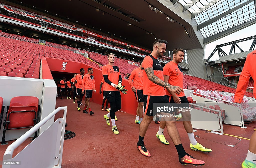 Loris Karius and Danny Ings of Liverpool during a training session at Anfield on September 8, 2016 in Liverpool, England.