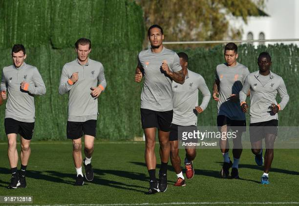 Loris Karius James Milner Andrew Robertson Virgil van Dijk Roberto Firmino and Sadio Mane of Liverpool during a training session at the Marbella...