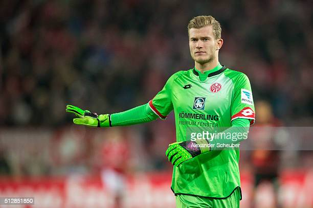 Loris Karius of 1 FSV Mainz 05 reacts during the first bundesliga match between 1 FSV Mainz 05 and Bayer Leverkusen at Coface Arena on February 28...
