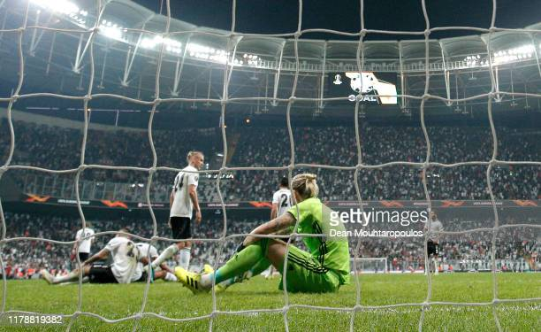 Loris Karius of Besiktas reacts after conceding his team's first goal scored by Willy Boly of Wolverhampton Wanderers during the UEFA Europa League...