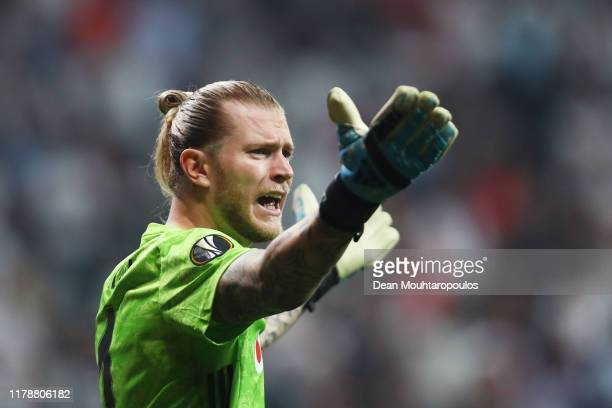 Loris Karius of Besiktas reacts during the UEFA Europa League group K match between Besiktas and Wolverhampton Wanderers at Vodafone Park on October...