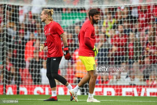 Loris Karius of Liverpool and Alisson Becker of Liverpool during the preseason friendly between Liverpool and Torino at Anfield on August 7 2018 in...
