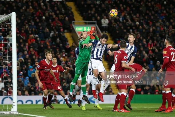 Loris Karius of Liverpool and Claudio Jacob of West Bromwich Albion during the Premier League match between Liverpool and West Bromwich Albion at...